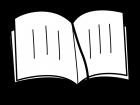 見開きの本の白黒イラスト