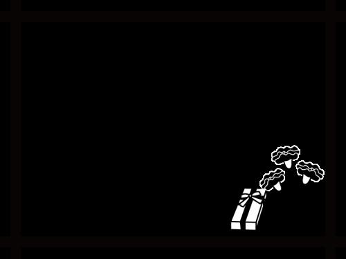 母の日・カーネーションのフレーム・枠の白黒イラスト