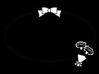 母の日・カーネーションのフレーム・枠の白黒イラスト02