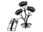 母の日・カーネーションとプレゼント箱の白黒イラスト