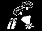 母の日・カーネーションとプレゼント箱の白黒イラスト02