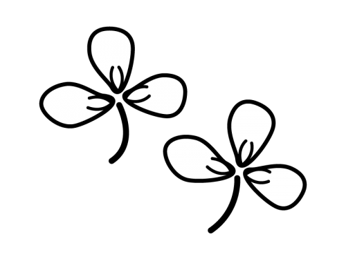 クローバーの白黒イラスト