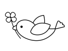 四つ葉のクローバーと小鳥の白黒イラスト