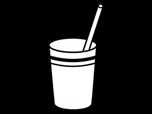 カップドリンクの白黒イラスト