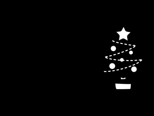12月タイトル・クリスマスツリーの白黒イラスト