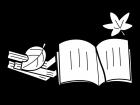 読書の秋の白黒イラスト