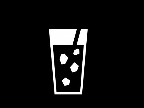 氷入りジュースの白黒イラスト