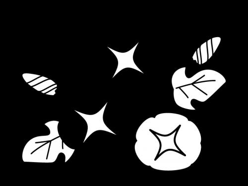朝顔(あさがお)の白黒イラスト