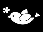 花と小鳥の白黒イラスト