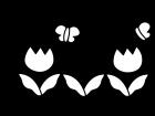 チューリップと蝶々の白黒イラスト