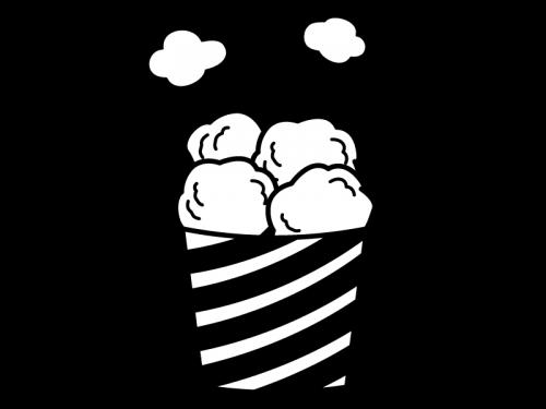 カップに入った唐揚げの白黒イラスト02