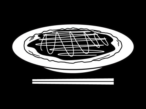 お好み焼きの白黒イラスト03