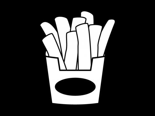 フライドポテトの白黒イラスト02