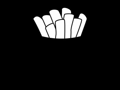 フライドポテトの白黒イラスト03
