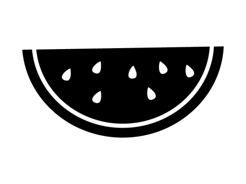 スイカの白黒イラスト