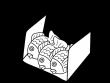 ホクホクのたい焼きの白黒イラスト