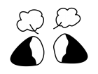 ホクホクの焼きいもの白黒イラスト