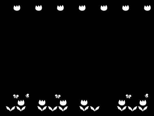 チューリップのフレーム・枠の白黒イラスト