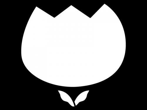 チューリップのフレーム・枠の白黒イラスト02