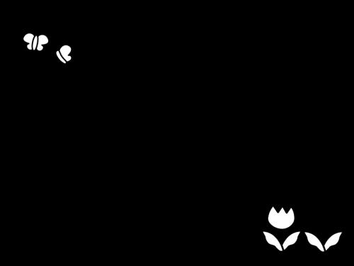 チューリップのフレーム・枠の白黒イラスト03