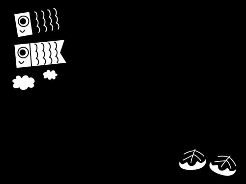 子供の日・鯉のぼりのフレーム・枠の白黒イラスト02
