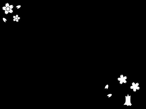 春・桜のフレーム・枠の白黒イラスト