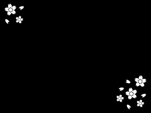 春・桜のフレーム・枠の白黒イラスト02