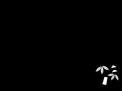 七夕飾りのフレーム・枠の白黒イラスト