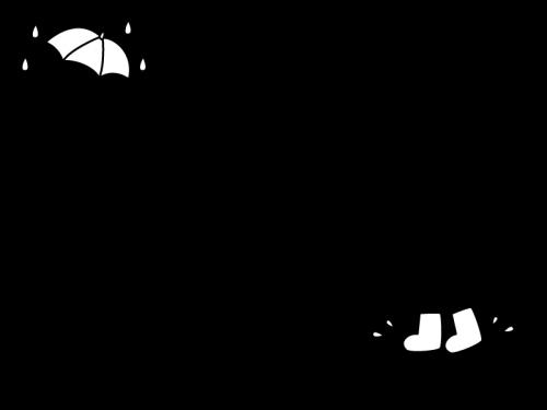 梅雨・雨降りのフレーム・枠の白黒イラスト