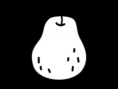 洋梨・ラフランスの白黒イラスト