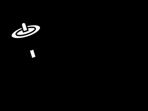 お正月・コマの白黒イラスト