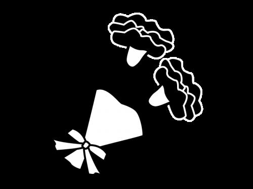 母の日・カーネーションの白黒イラスト02