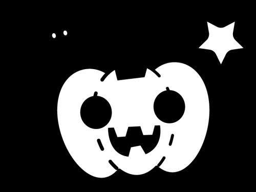 ハロウィンかぼちゃのお化けの白黒イラスト かわいい無料の白黒