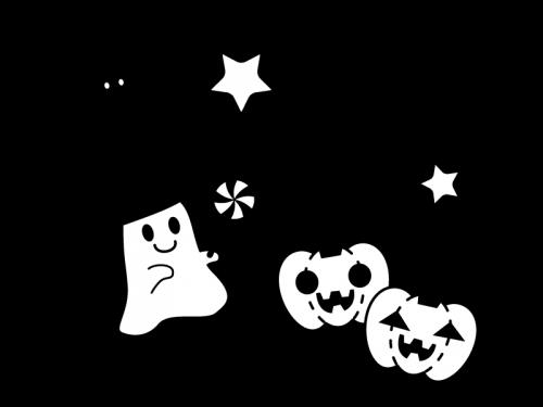 ハロウィンのお化けの白黒イラスト