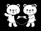 ハートを持つクマの白黒イラスト02