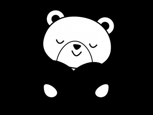 ハートを持つクマの白黒イラスト