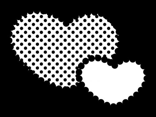水玉模様のハートの白黒イラスト