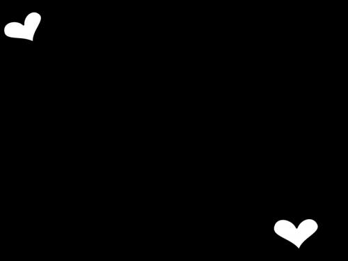 ハートのフレーム・枠の白黒イラスト03