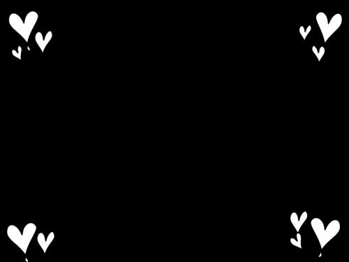 ハートのフレーム枠の白黒イラスト04 かわいい無料の白黒イラスト