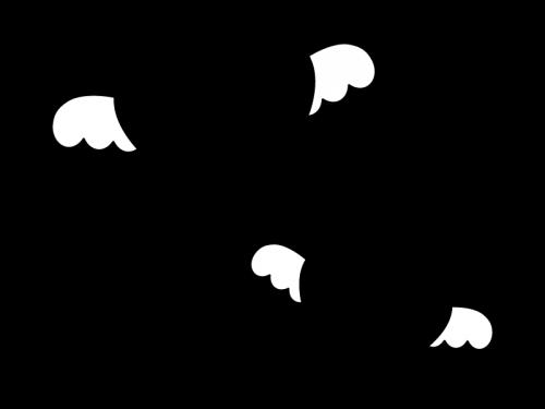 羽付きのハートの白黒イラスト かわいい無料の白黒イラスト モノぽっと
