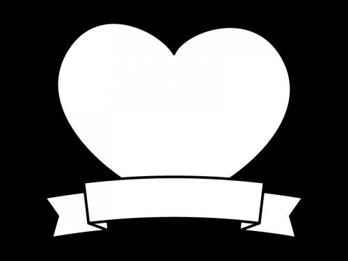 ハートとリボンのフレーム・枠の白黒イラスト