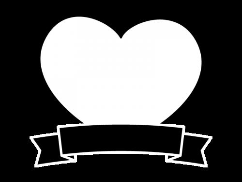 ハートとリボンのフレーム・枠の白黒イラスト02
