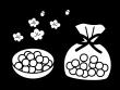 ひな祭り・ひなあられの白黒イラスト