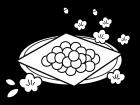 ひな祭り・ひなあられの白黒イラスト02