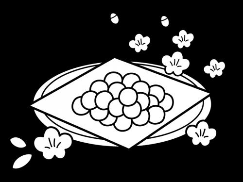 ひな祭りひなあられの白黒イラスト02 かわいい無料の白黒