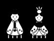 ひな祭り・お内裏様とお雛様の白黒イラスト