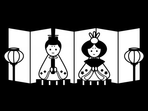 ひな祭りお内裏様とお雛様の白黒イラスト02 かわいい無料の白黒