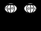 ひな祭りのぼんぼりの白黒イラスト02
