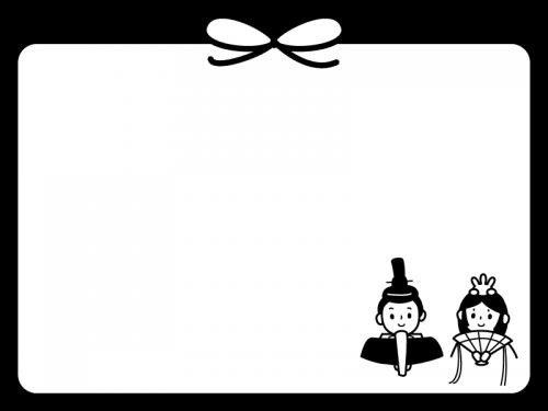ひな祭りのフレーム・枠の白黒イラスト03