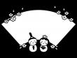 ひな祭りの楕円形フレーム・枠の白黒イラスト